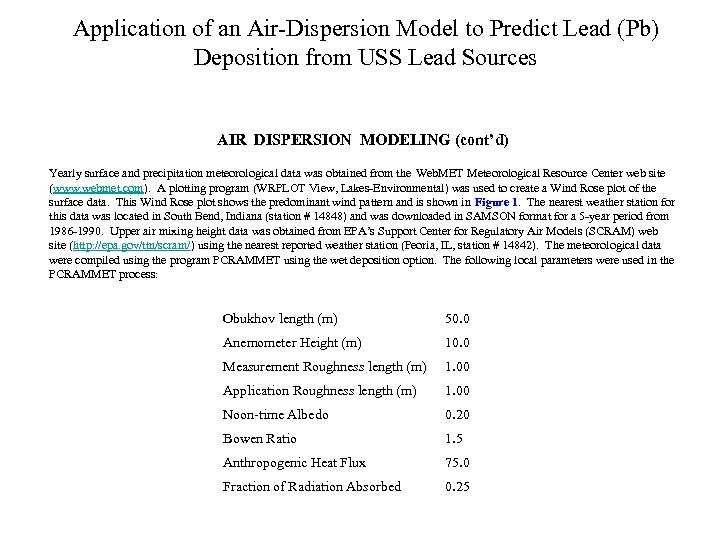 Application of an Air-Dispersion Model to Predict Lead (Pb) Deposition from USS Lead Sources