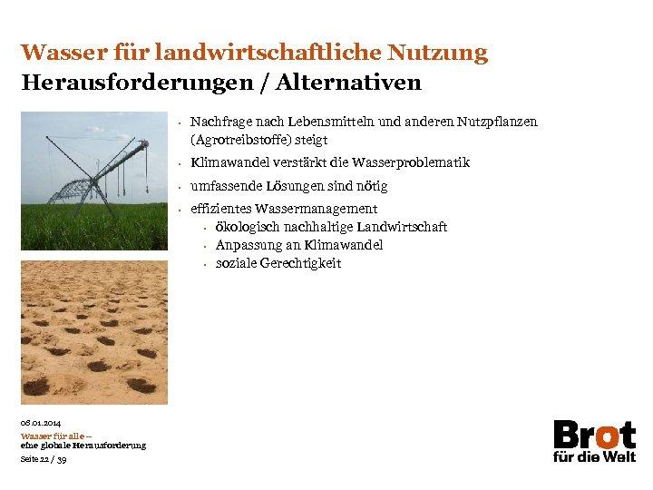 Wasser für landwirtschaftliche Nutzung Herausforderungen / Alternativen • Nachfrage nach Lebensmitteln und anderen Nutzpflanzen