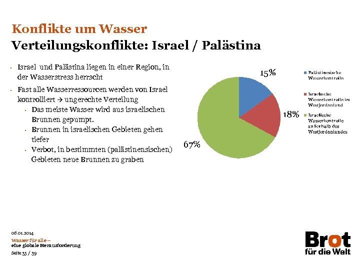 Konflikte um Wasser Verteilungskonflikte: Israel / Palästina • • Israel und Palästina liegen in