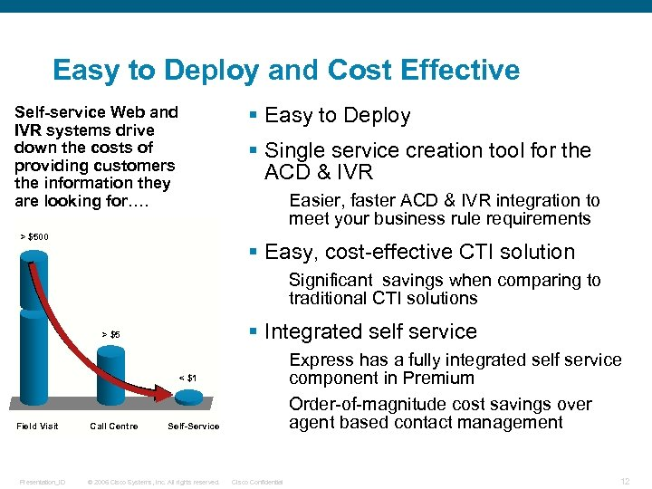 Easy to Deploy and Cost Effective § Easy to Deploy Self-service Web and IVR