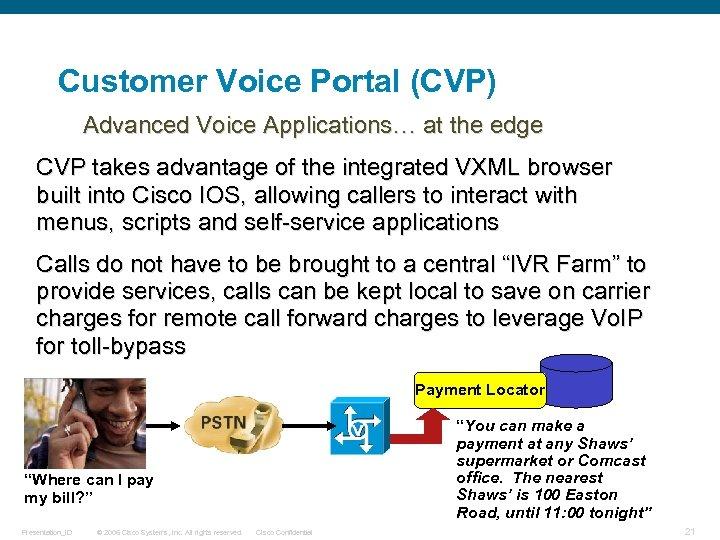 Customer Voice Portal (CVP) Advanced Voice Applications… at the edge CVP takes advantage of