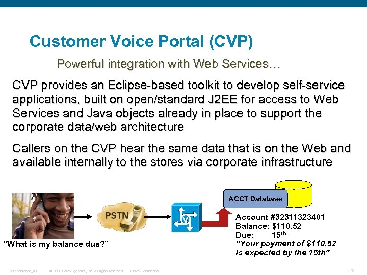 Customer Voice Portal (CVP) Powerful integration with Web Services… CVP provides an Eclipse-based toolkit
