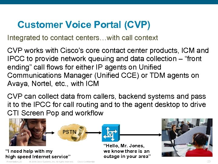Customer Voice Portal (CVP) Integrated to contact centers…with call context CVP works with Cisco's