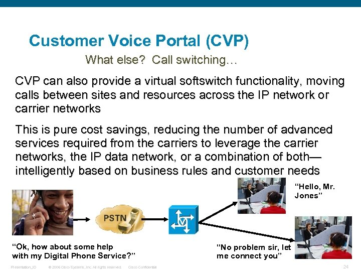 Customer Voice Portal (CVP) What else? Call switching… CVP can also provide a virtual