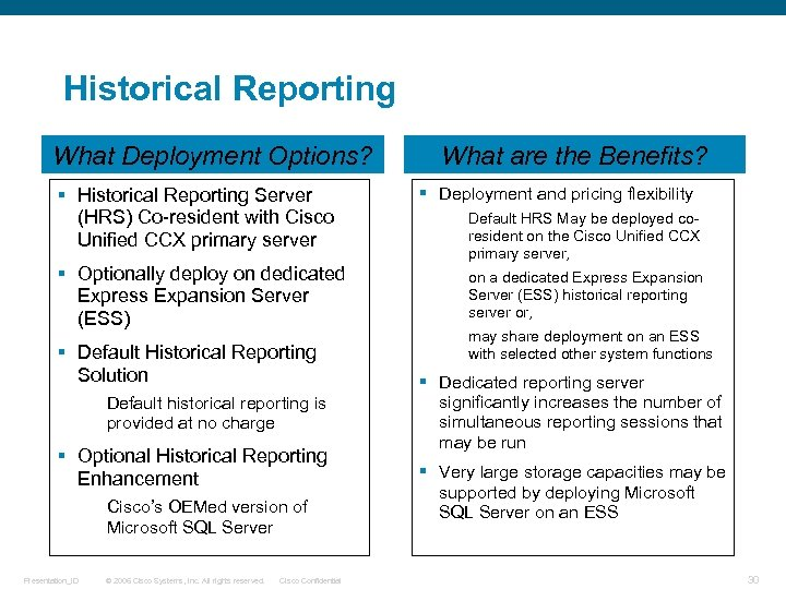 Historical Reporting What Deployment Options? § Historical Reporting Server (HRS) Co-resident with Cisco Unified