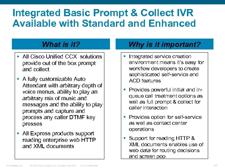 Integrated Basic Prompt & Collect IVR Available with Standard and Enhanced What is it?