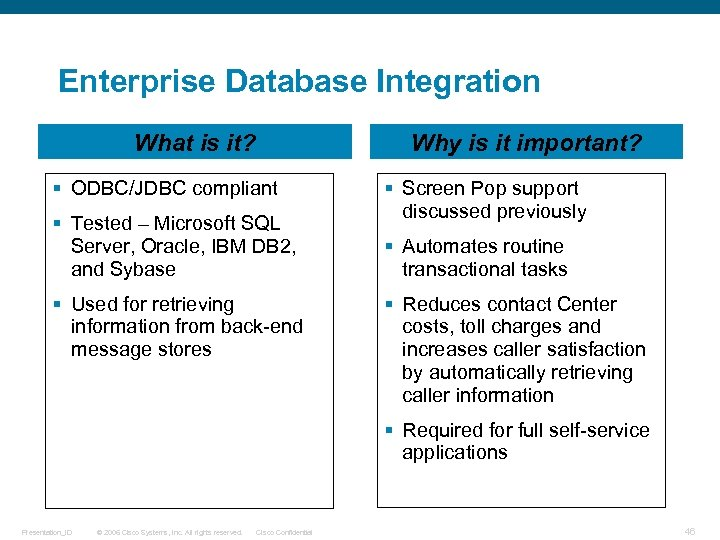 Enterprise Database Integration What is it? Why is it important? § ODBC/JDBC compliant §
