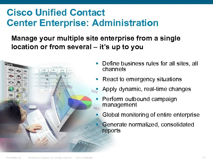 Cisco Unified Contact Center Enterprise: Administration Manage your multiple site enterprise from a single
