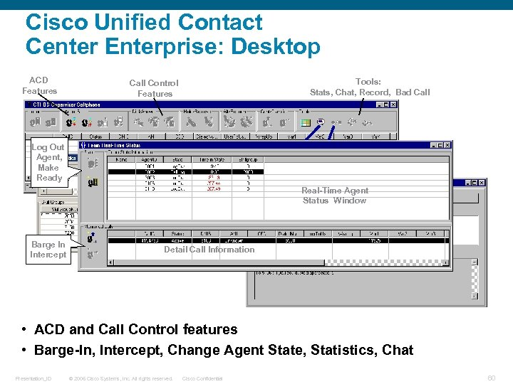 Cisco Unified Contact Center Enterprise: Desktop ACD Features Tools: Stats, Chat, Record, Bad Call