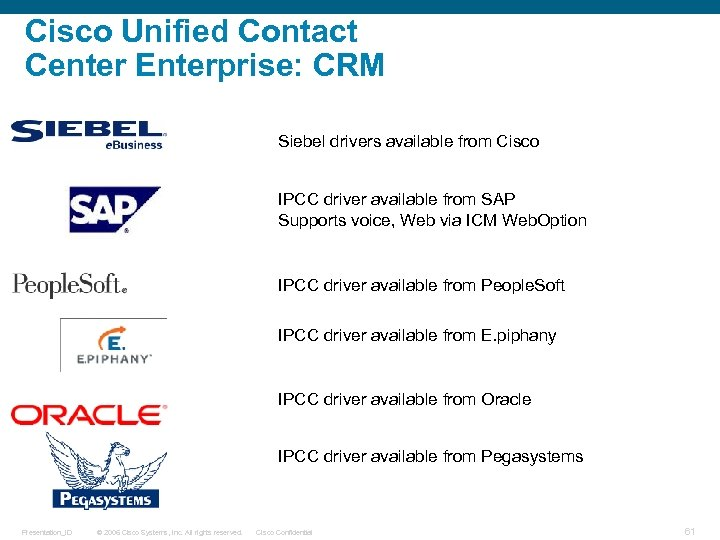 Cisco Unified Contact Center Enterprise: CRM Siebel drivers available from Cisco IPCC driver available