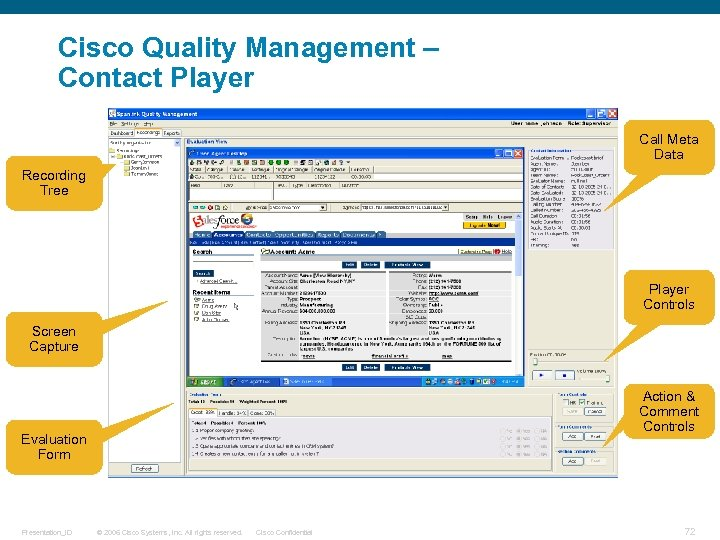 Cisco Quality Management – Contact Player Call Meta Data Recording Tree Player Controls Screen