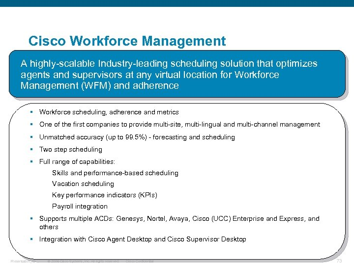 Cisco Workforce Management A highly-scalable Industry-leading scheduling solution that optimizes agents and supervisors at