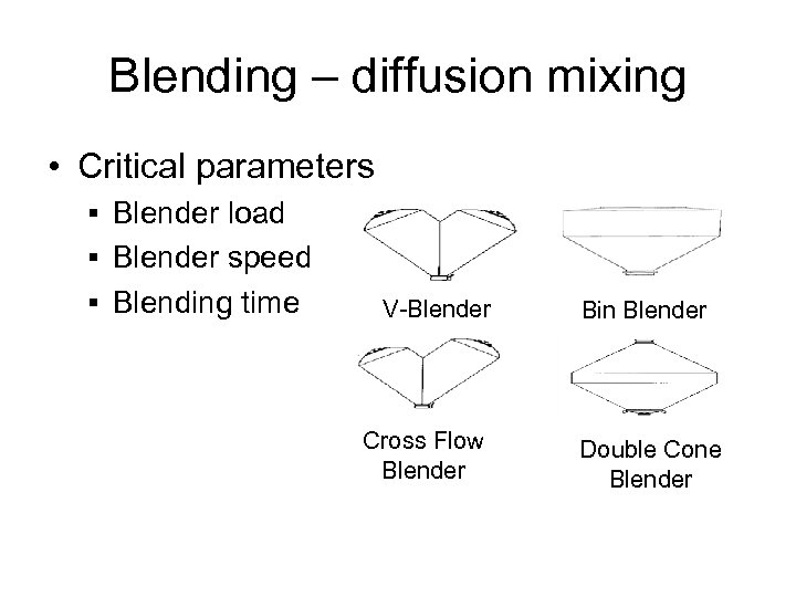 Blending – diffusion mixing • Critical parameters § Blender load § Blender speed §