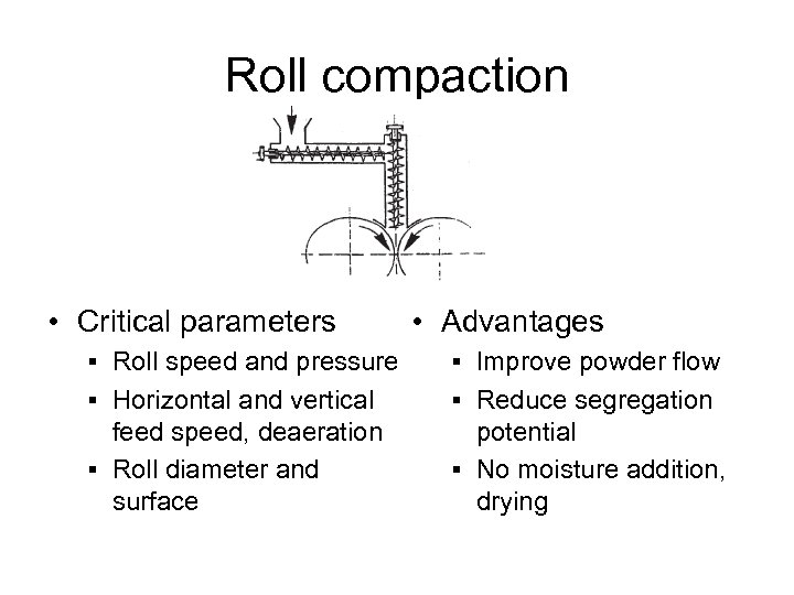 Roll compaction • Critical parameters • Advantages § Roll speed and pressure § Improve