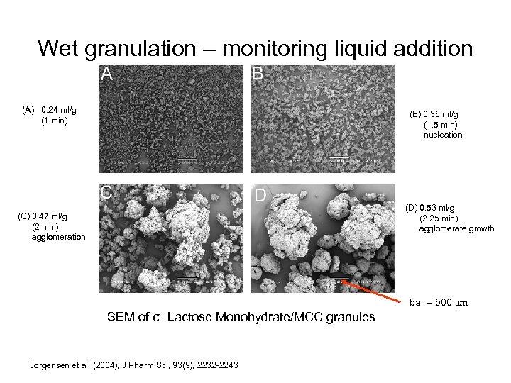 Wet granulation – monitoring liquid addition (A) 0. 24 ml/g (1 min) (B) 0.