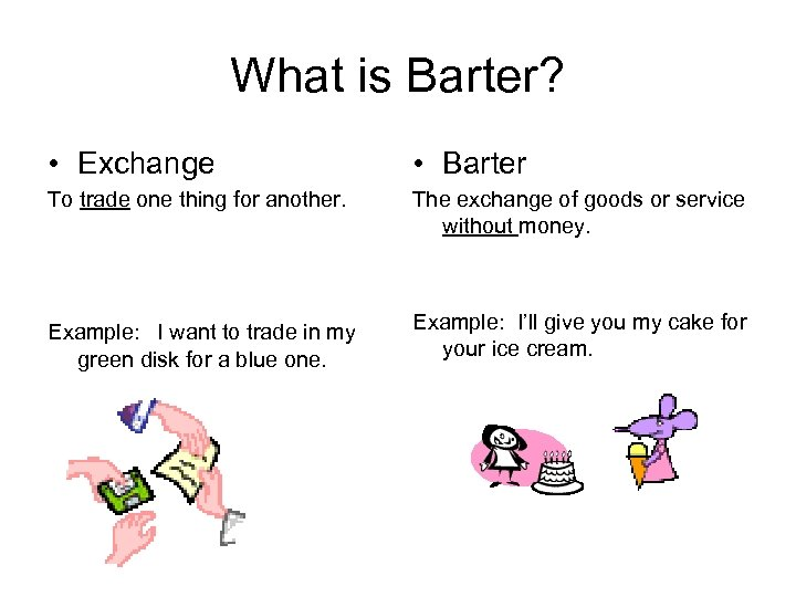 What is Barter? • Exchange • Barter To trade one thing for another. The