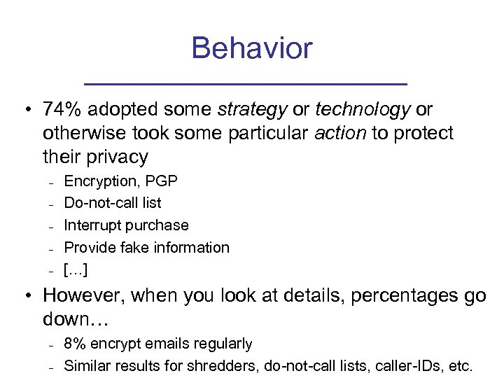 Behavior • 74% adopted some strategy or technology or otherwise took some particular action