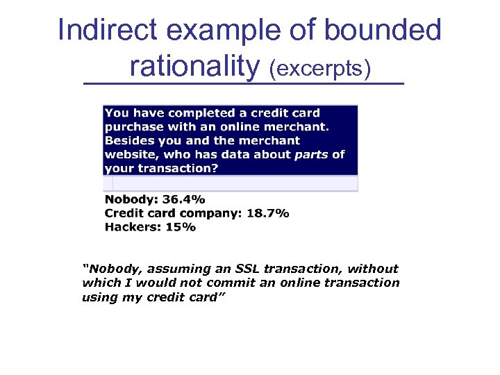 "Indirect example of bounded rationality (excerpts) ""Nobody, assuming an SSL transaction, without which I"