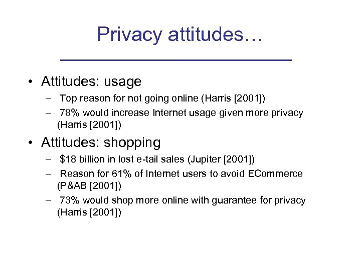 Privacy attitudes… • Attitudes: usage – Top reason for not going online (Harris [2001])
