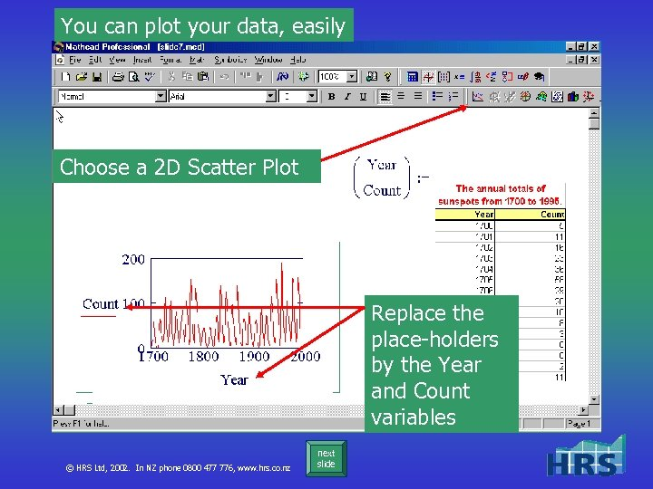 You can plot your data, easily Choose a 2 D Scatter Plot Replace the