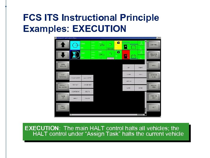 FCS ITS Instructional Principle Examples: EXECUTION: The main HALT control halts all vehicles; the