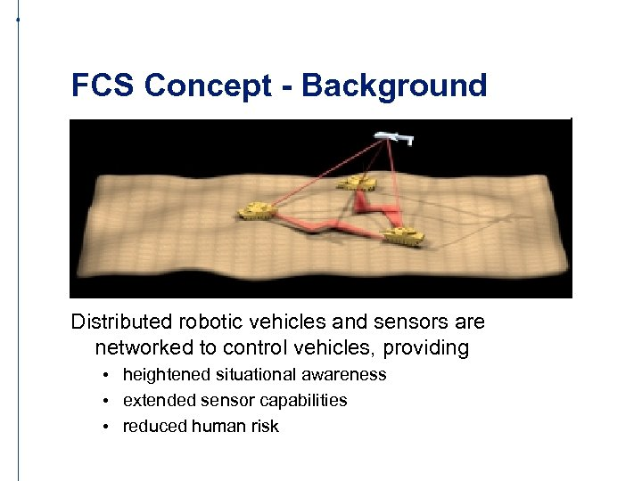 FCS Concept - Background Distributed robotic vehicles and sensors are networked to control vehicles,