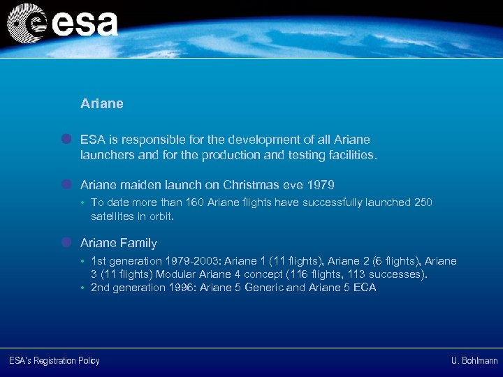 Ariane ESA is responsible for the development of all Ariane launchers and for the