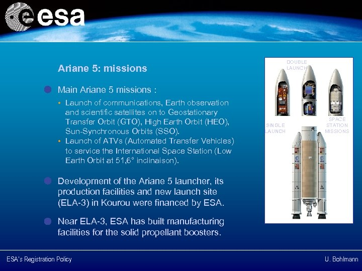 DOUBLE LAUNCH Ariane 5: missions Main Ariane 5 missions : • Launch of communications,