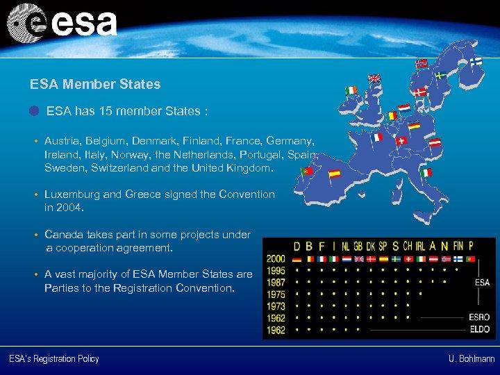 ESA Member States ESA has 15 member States : • Austria, Belgium, Denmark, Finland,
