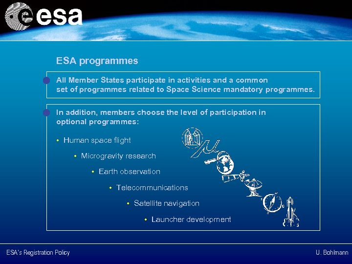 ESA programmes All Member States participate in activities and a common set of programmes