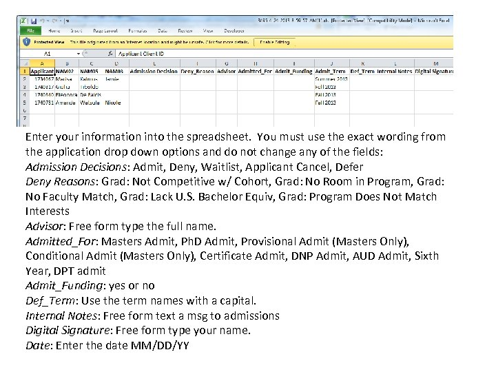 Enter your information into the spreadsheet. You must use the exact wording from the