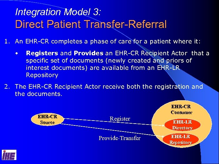 Integration Model 3: Direct Patient Transfer-Referral 1. An EHR-CR completes a phase of care