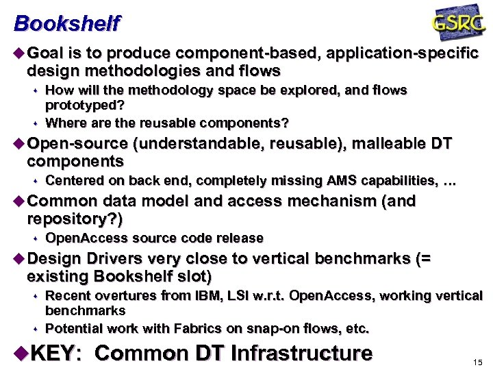 Bookshelf u Goal is to produce component-based, application-specific design methodologies and flows s s
