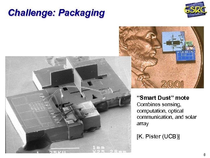 "Challenge: Packaging ""Smart Dust"" mote Combines sensing, computation, optical communication, and solar array [K."