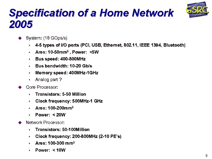 Specification of a Home Network 2005 u System: (18 GOps/s) s s Area: 10