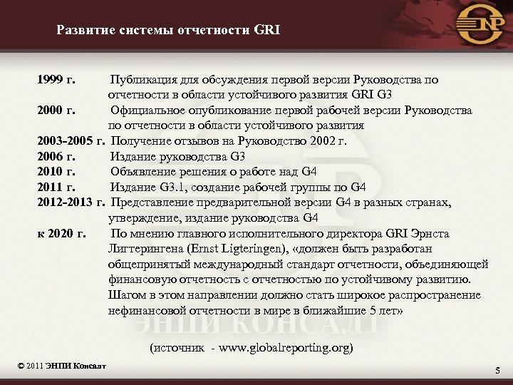 Развитие системы отчетности GRI 1999 г. Публикация для обсуждения первой версии Руководства по отчетности
