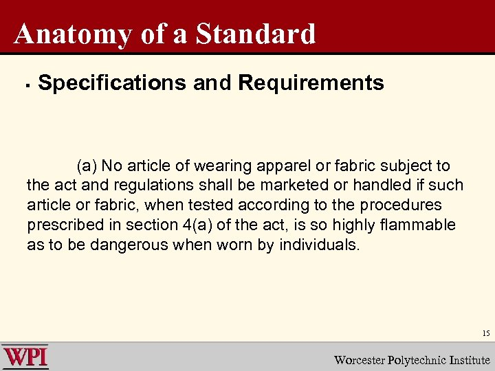 Anatomy of a Standard § Specifications and Requirements (a) No article of wearing apparel