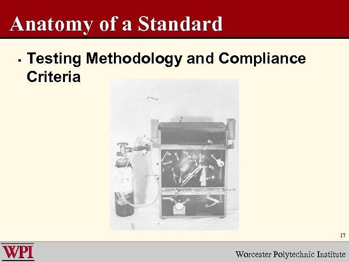 Anatomy of a Standard § Testing Methodology and Compliance Criteria 17 Worcester Polytechnic Institute