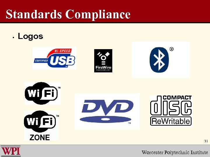 Standards Compliance § Logos 31 Worcester Polytechnic Institute
