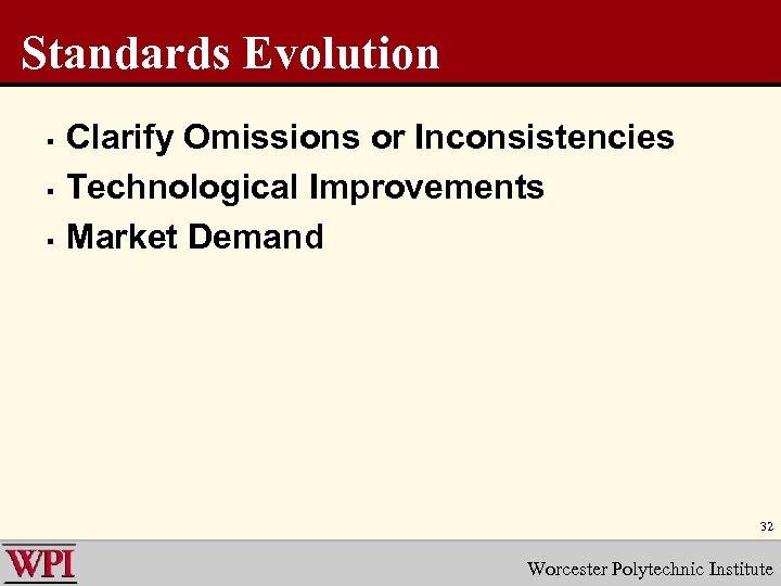 Standards Evolution § § § Clarify Omissions or Inconsistencies Technological Improvements Market Demand 32
