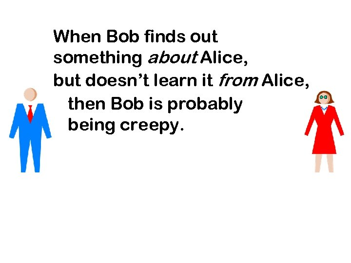 When Bob finds out something about Alice, but doesn't learn it from Alice, then