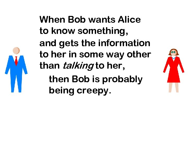 When Bob wants Alice to know something, and gets the information to her in