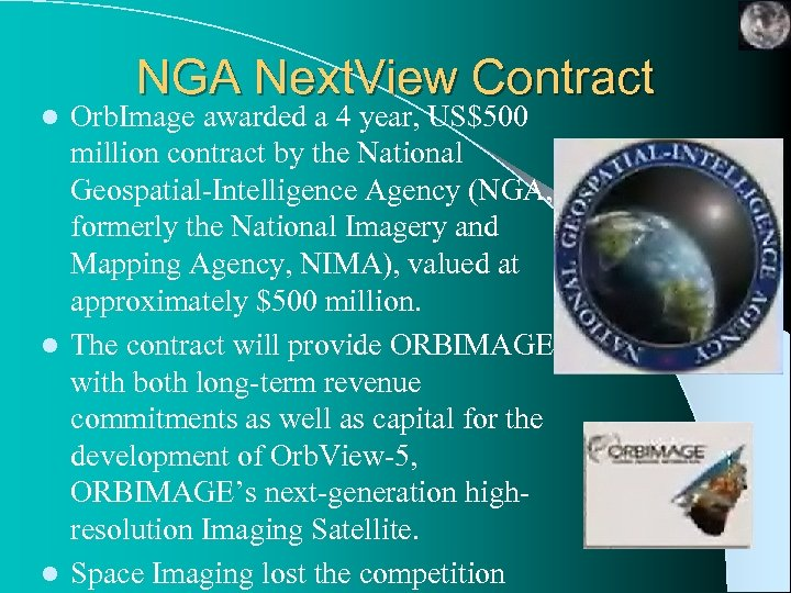 NGA Next. View Contract Orb. Image awarded a 4 year, US$500 million contract by