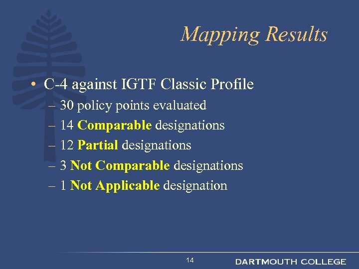 Mapping Results • C-4 against IGTF Classic Profile – 30 policy points evaluated –