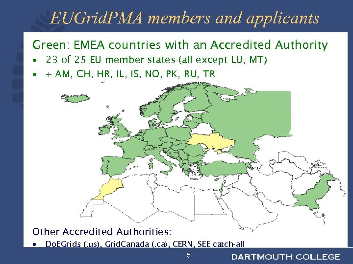 EUGrid. PMA members and applicants Green: EMEA countries with an Accredited Authority · 23