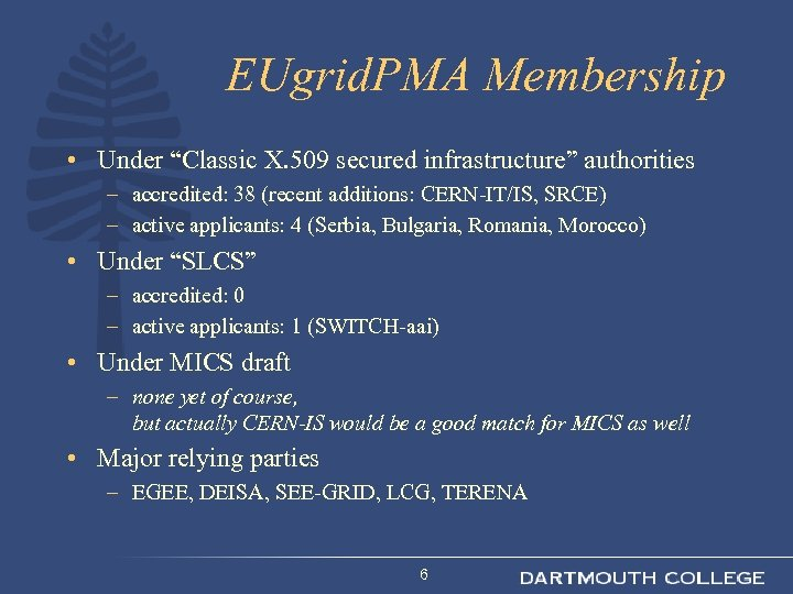 """EUgrid. PMA Membership • Under """"Classic X. 509 secured infrastructure"""" authorities – accredited: 38"""
