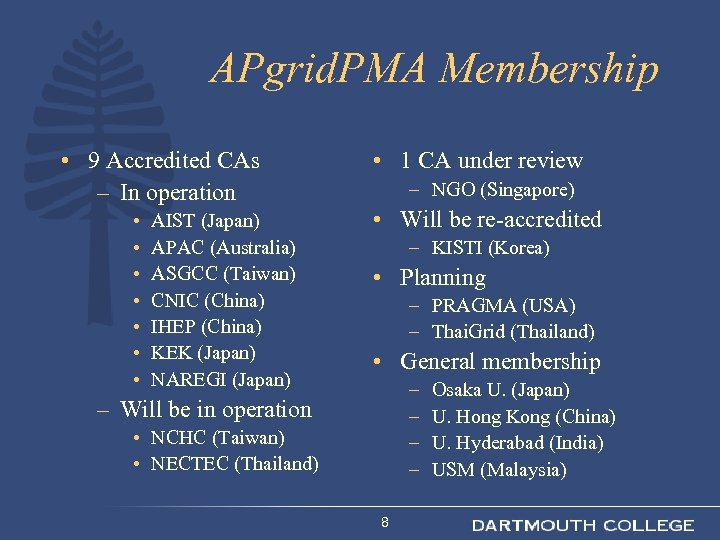 APgrid. PMA Membership • 9 Accredited CAs – In operation • • AIST (Japan)