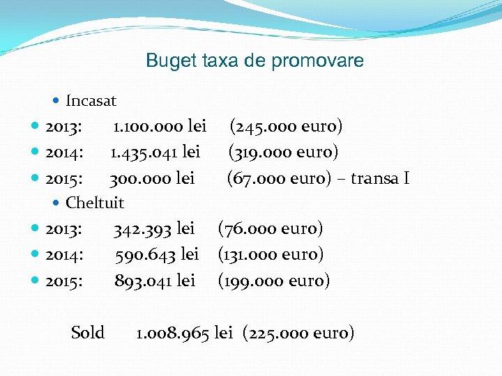 Buget taxa de promovare Incasat 2013: 1. 100. 000 lei (245. 000 euro) 2014: