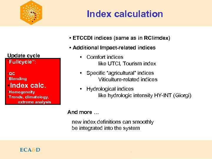 Index calculation • ETCCDI indices (same as in RClimdex) • Additional Impact-related indices Update