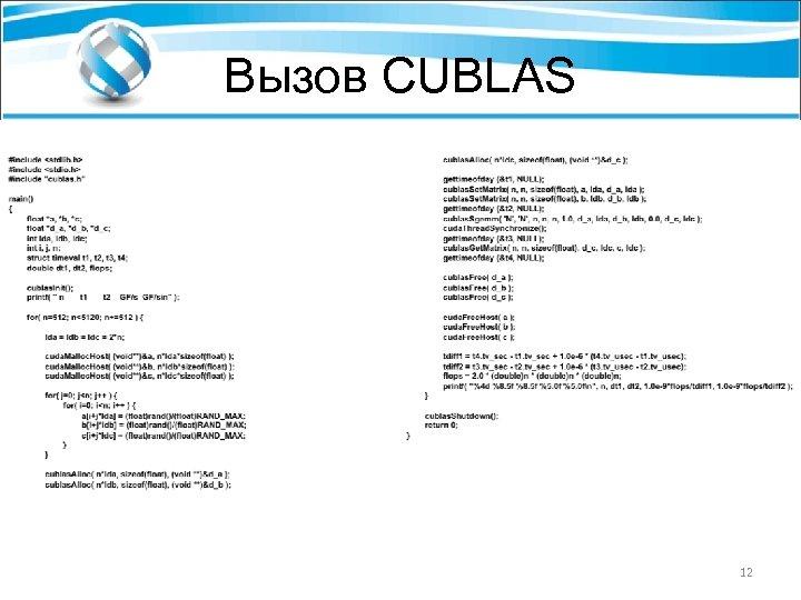 Вызов CUBLAS 12
